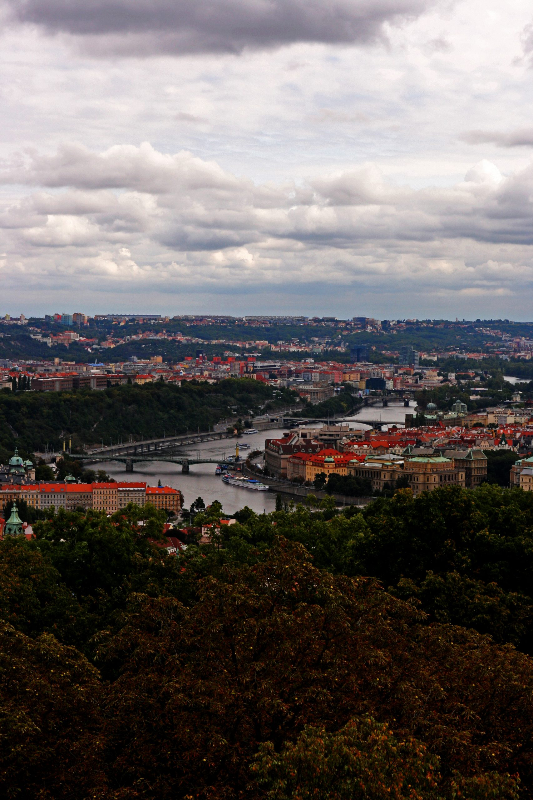 The red roof view of Prague from Vysehrad castle