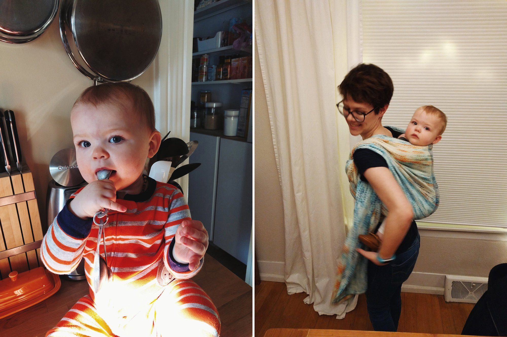 Baking with baby // River City Weaving Wrap