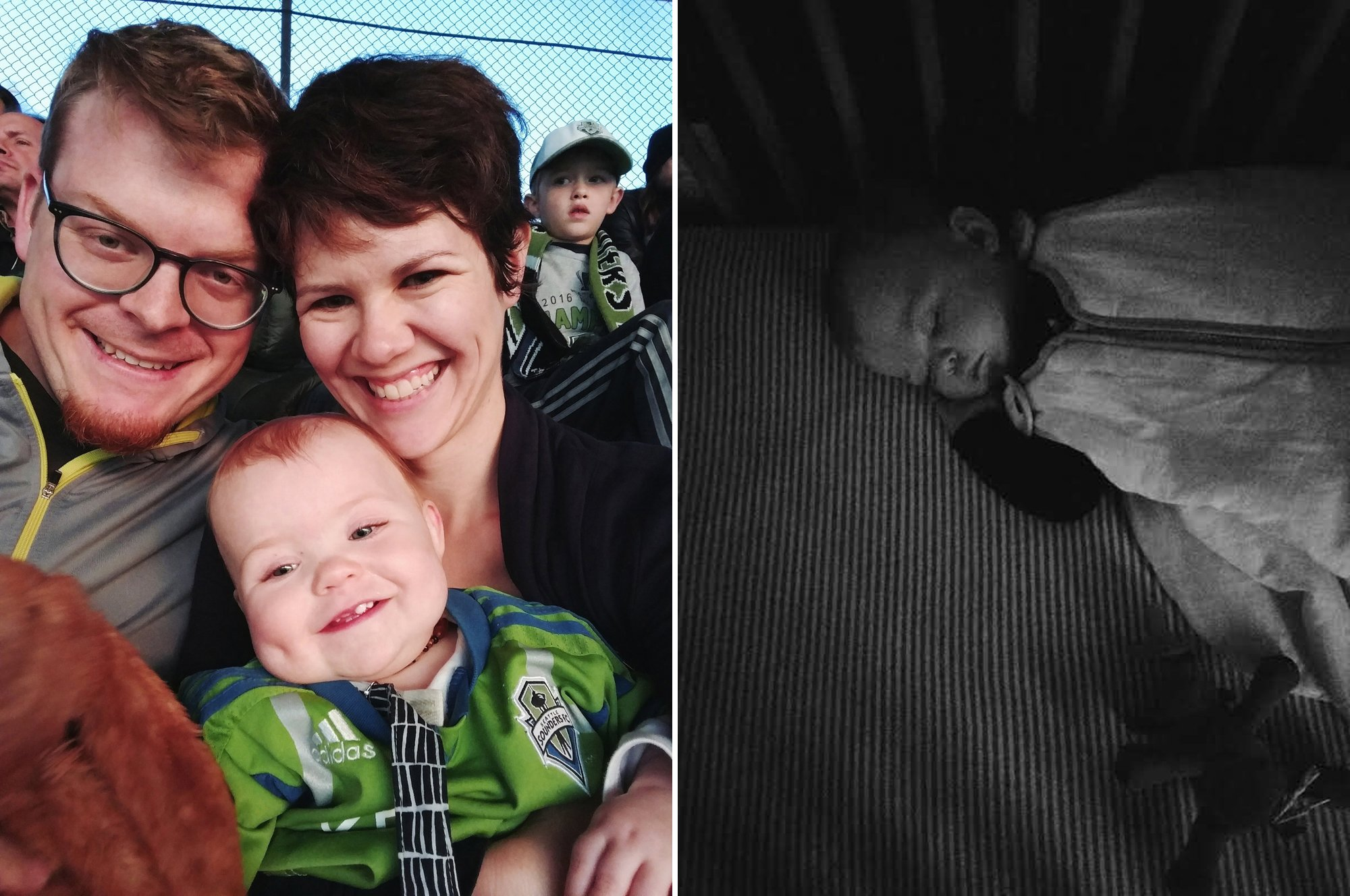 Baby at Sounders Game and Sleeping Hard
