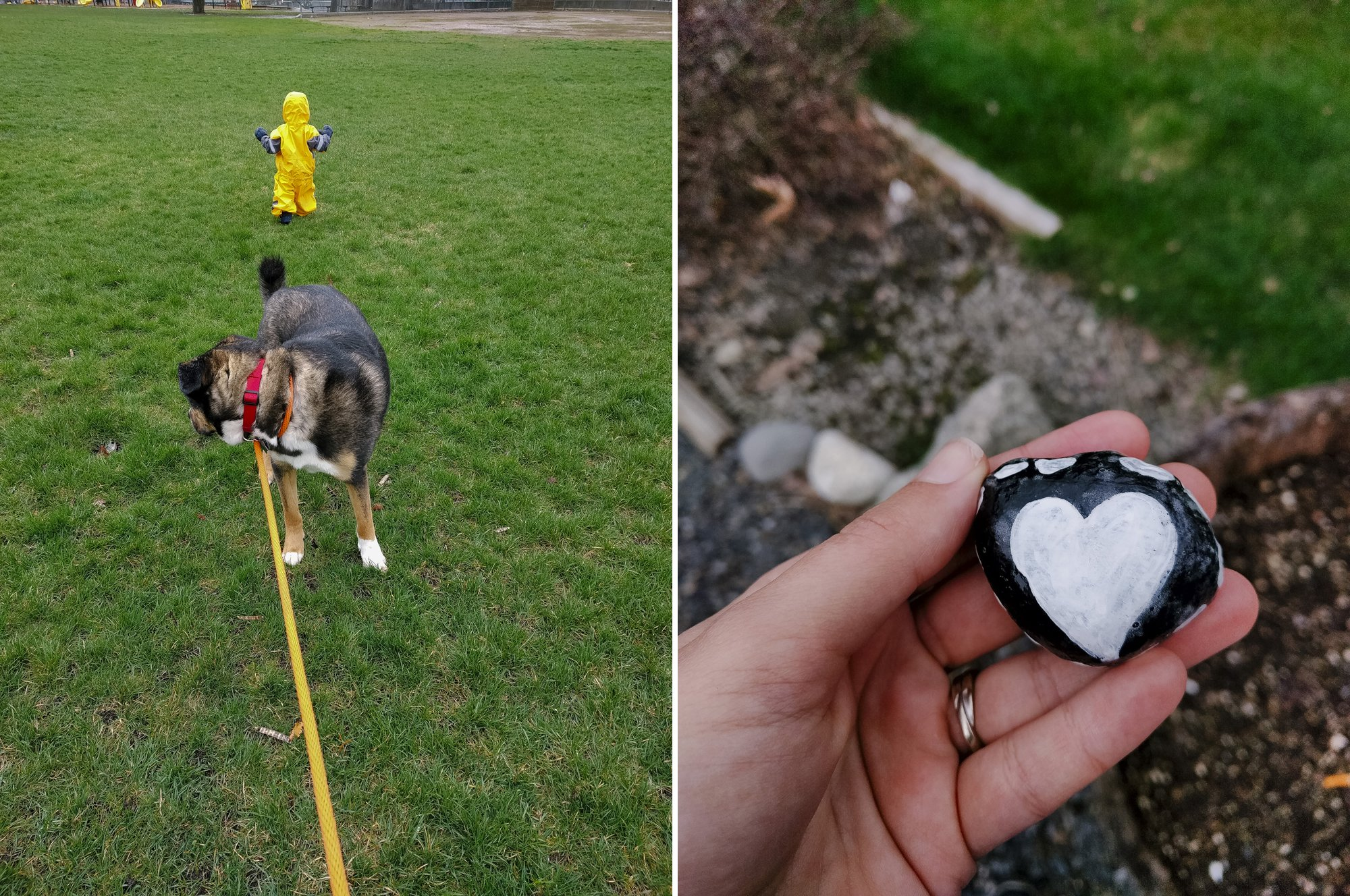Hunting for rocks and playing in the rain is easier with an Oakiwear rain suit