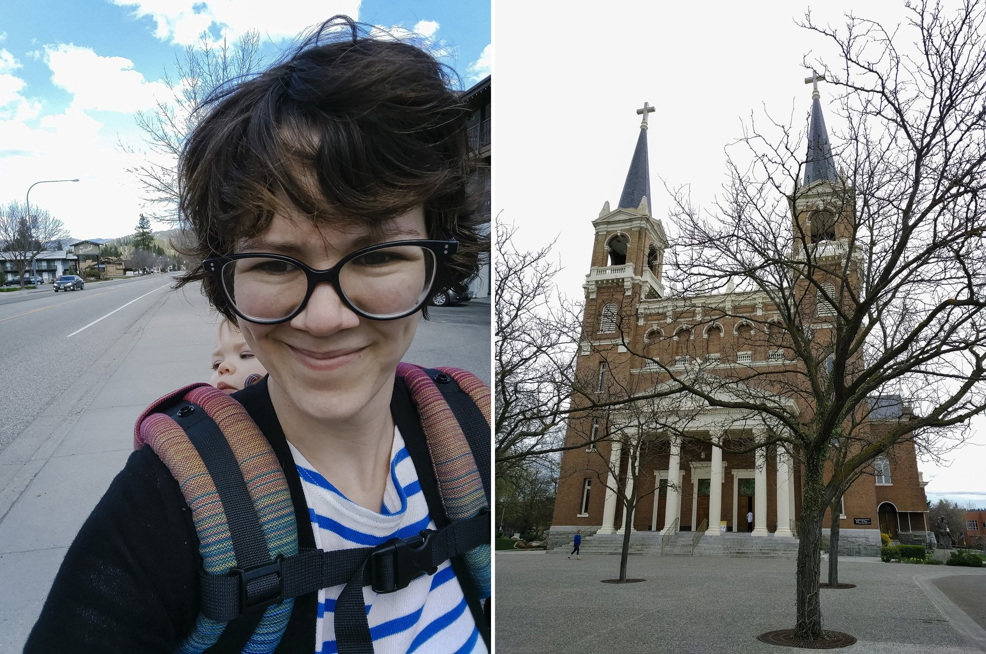 Babywearing in Leavenworth and at Gonzaga University for a wedding