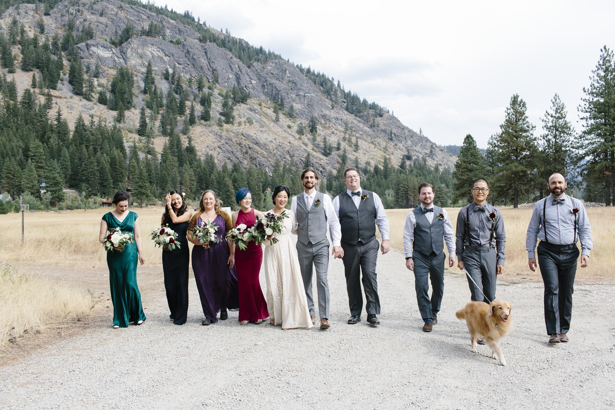 Wedding Party in Jewel Toned Dresses and Grey Suits