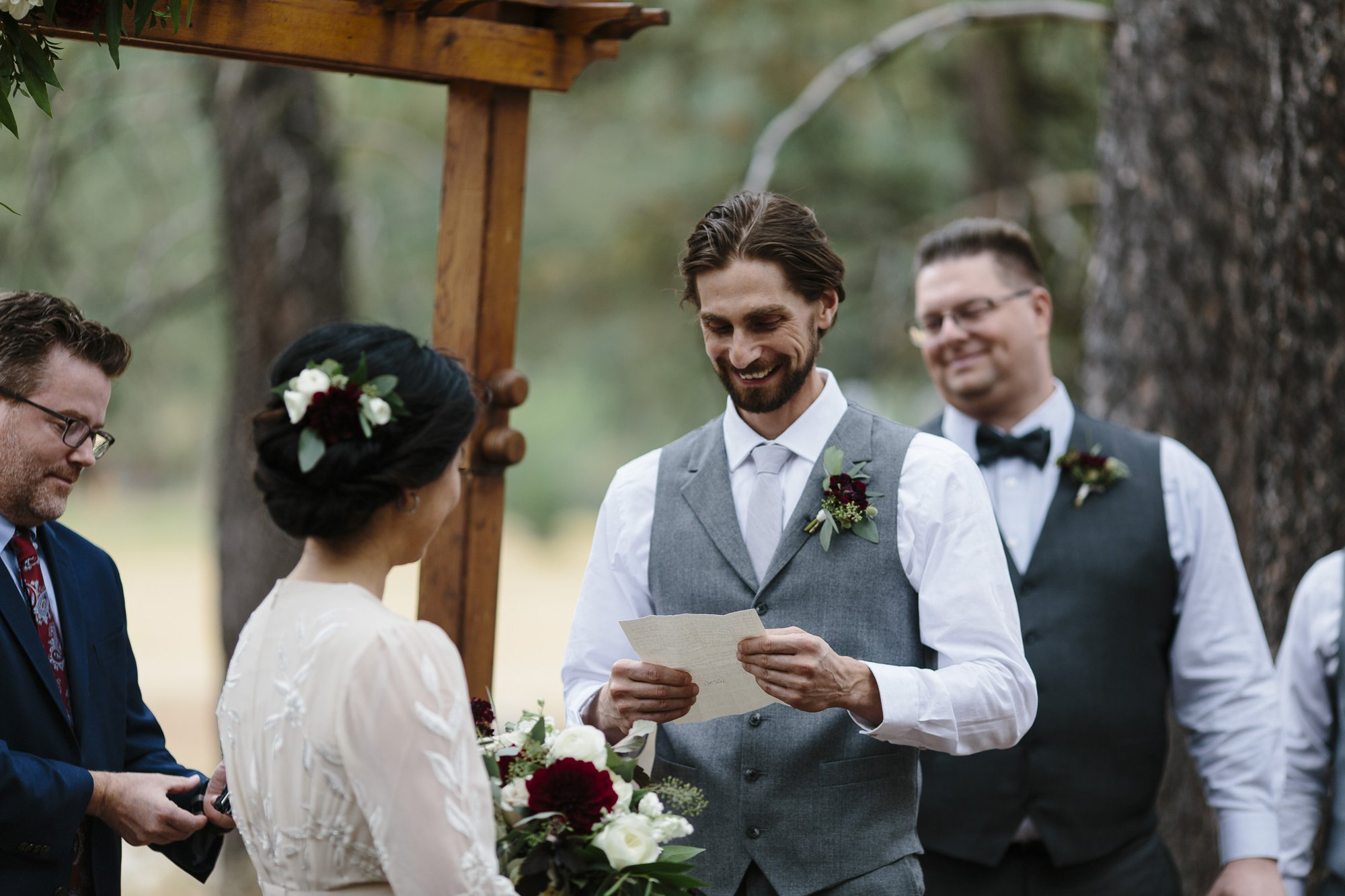 Wedding ceremony outside under the trees