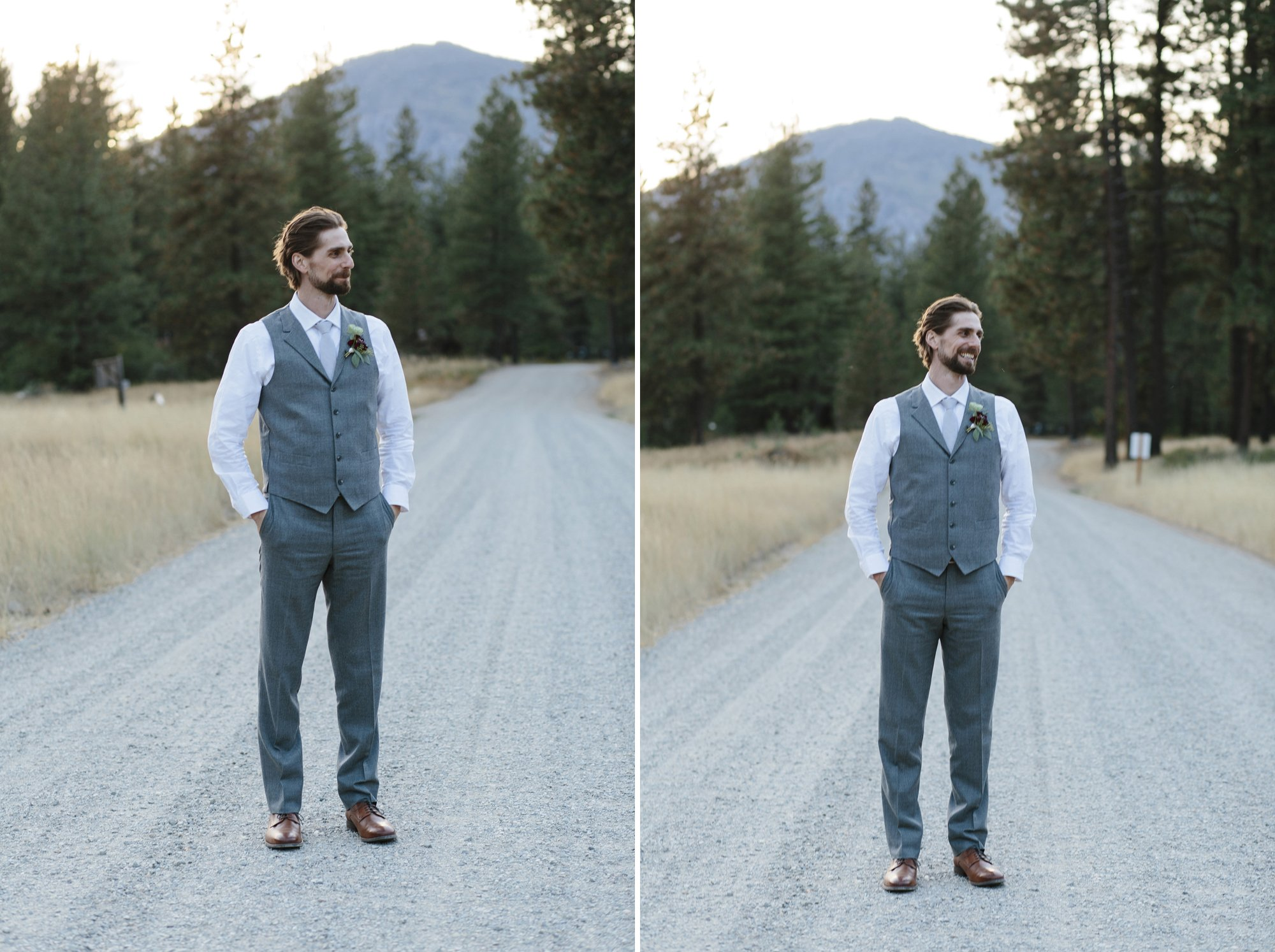 Wedding portraits in a field in the Methow Valley