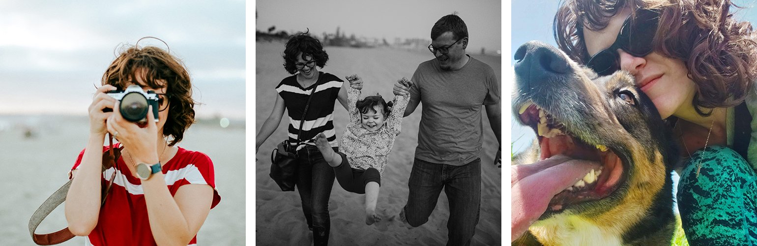 three images of Emily, one where she is at the beach holding a camera in front of her face, one black and white where she and her husband are swinging their daughter between them, and one close up of her with a black and tan dog.